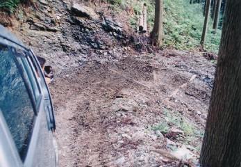 ヘアピンカーブに埋められた丸太は、林内作業車の回転を助けるためのもの